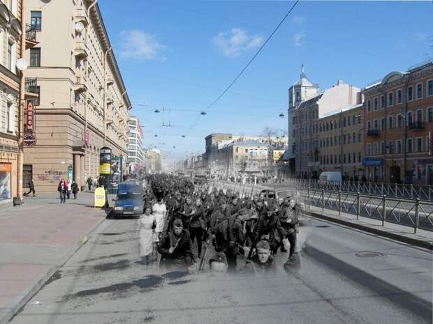 Ленинград 1941-2009 Лиговский проспект. Войска уходят на фронт блокада, ленинград, победа