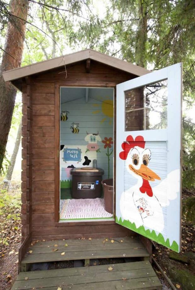 Туалет с расписными стенами.| Фото: Make-Self.