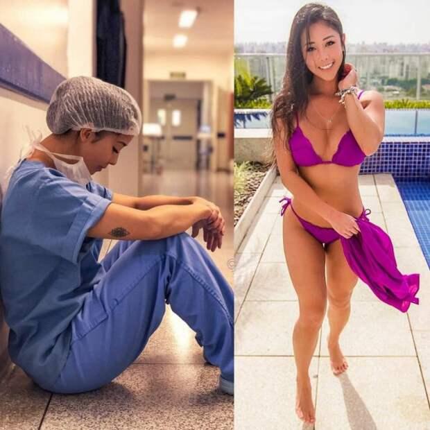 девушка в фиолетовом купальнике