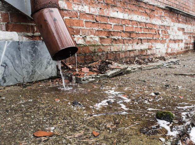 Текущая из водостока вода разрушает отмостку