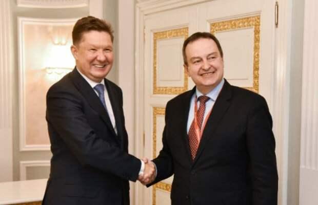 Алексей Миллер и председатель народной скупщины Сербии Ивица Дачич