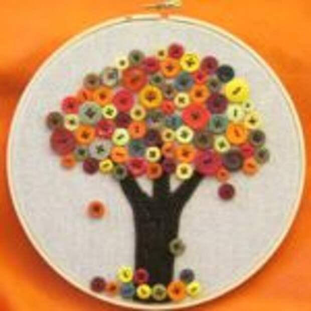 Пуговичная картина Осенний Дуб
