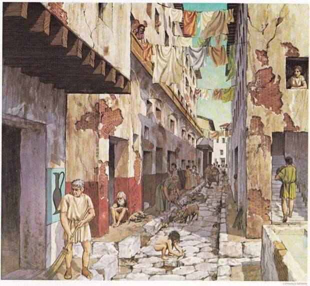 Улицы Субуры. Современная иллюстрация.