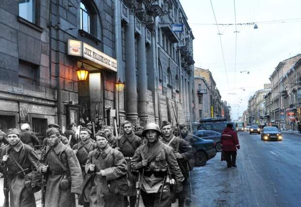 Ленинград 1941-2010 Загородный 27. Регулярные части Красной армии следуют к передовой блокада, ленинград, победа