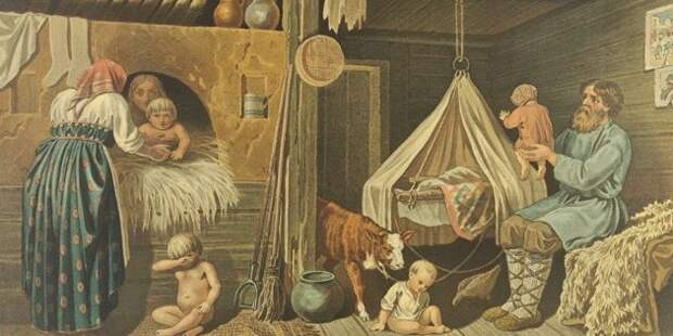 Крестьянские дети зимой в избе