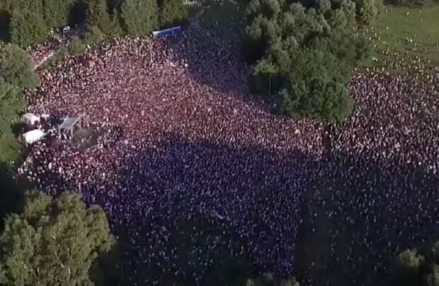 Митинг-концерт в поддержку Светланы Тихановской в Минске 30 июля собрал, по разным данным, от 34 до 63 тысяч человек