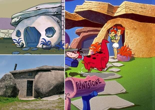 Дом мультяшных Флинстоунов и дом настоящих Родригесов