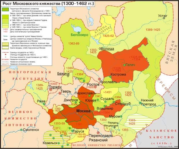 Взято из открытых источников. Красным отмечена территория, присоединённая к Москве в правление Даниила, Юрия и Ивана.