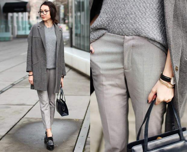 Девушка в укороченных брюках и сером пальто