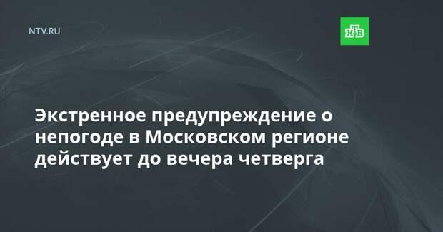 Экстренное предупреждение о непогоде в Московском регионе действует до вечера четверга