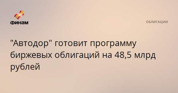 """""""Автодор"""" готовит программу биржевых облигаций на 48,5 млрд рублей"""