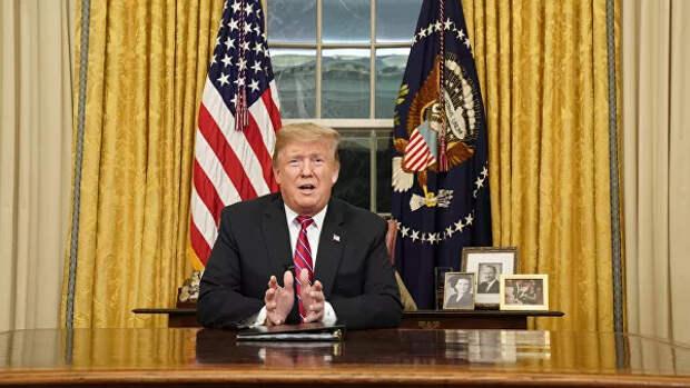 Трамп выступил собращением камериканцам