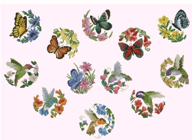 Миниатюра с бабочками и птицами