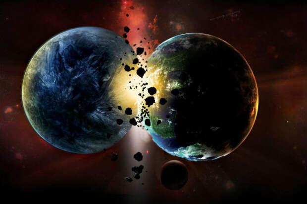 Как выглядит столкновение двух планет в космосе. Видео