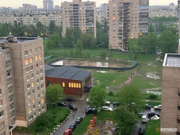 Гроза в Петербурге ломает деревья, светофоры и автомобили