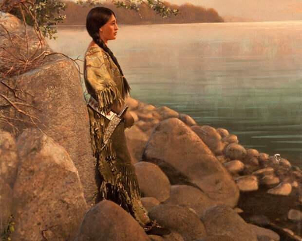 Ручная роспись фото молодой индианки на берегу реки, начало 1900-х.