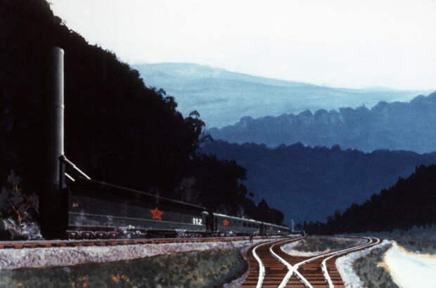 Так, по мнению западных художников, должен был выглядеть советский боевой железнодорожный комплекс на стартовой позиции в Сибири