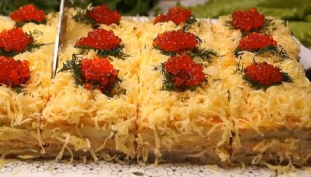 Закусочный селедочный торт