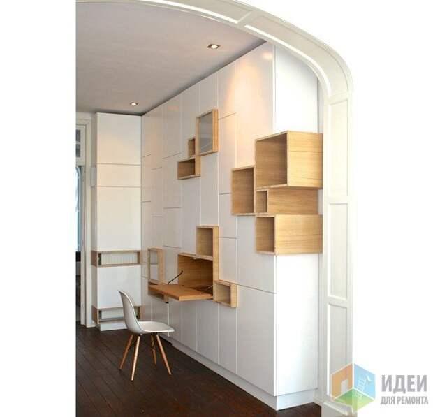 Стеновые шкафы и полки - гармония контрастов