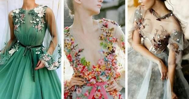 Самые нежные и стильные платья, вышитые цветами