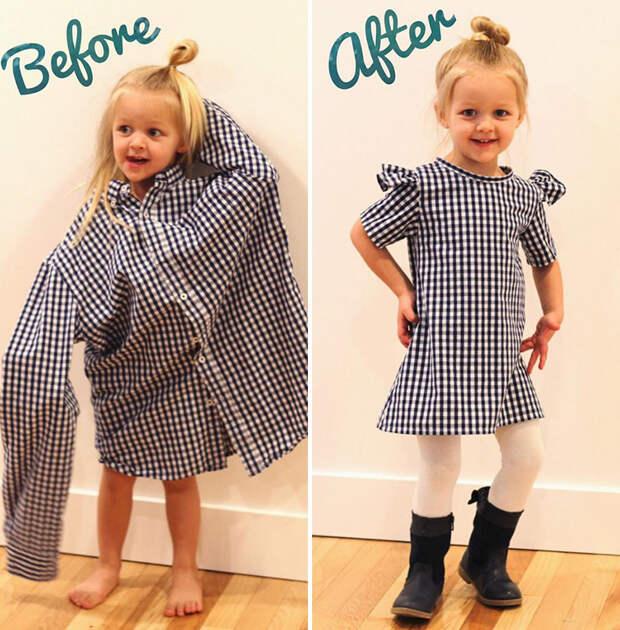 Платье дочке из старой папиной рубашки за час!