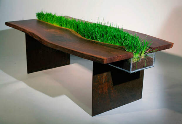 Небольшая линия газона, разделяющая две половинки обеденного стола.