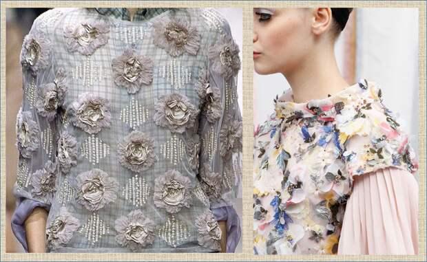 Необычные аппликации и элементы украшения одежды из кружева, шифона и органзы