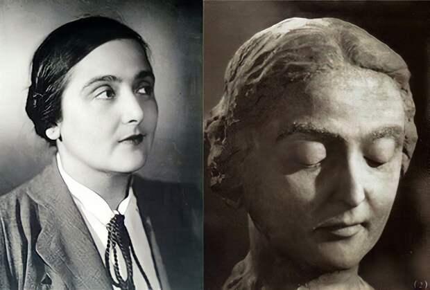Надежда Тополева. Справа – скульптурный портрет Тополевой, выполненный Георгием Вициным