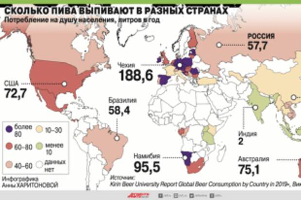 Сколько пива выпивают в разных странах. Инфографика