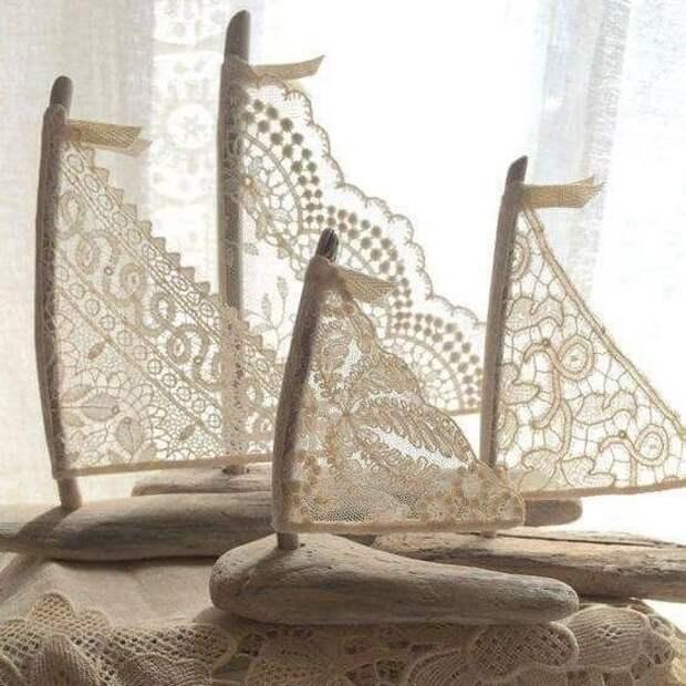 3. Салфетка, разрезанная на части, может стать парусом кораблика Фабрика идей, кружевная салфетка, наши руки не для скуки, поделки и переделки