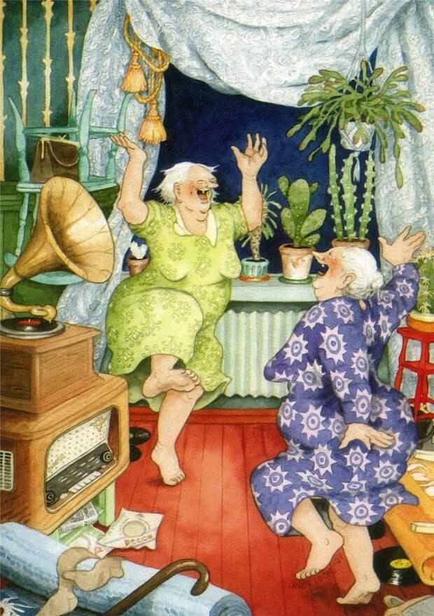 Озорные старушки: серия открыток снеунывающими подругами