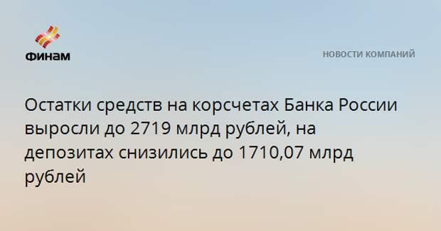 Остатки средств на корсчетах Банка России выросли до 2719 млрд рублей, на депозитах снизились до 1710,07 млрд рублей