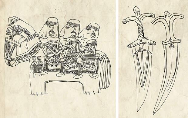 Прорисовка каменного изваяния. Рис. Е. Шумаковой. Индийский кинжал чиланум. Прорисовка Е. Шумаковой. По: (Носов, 2011)