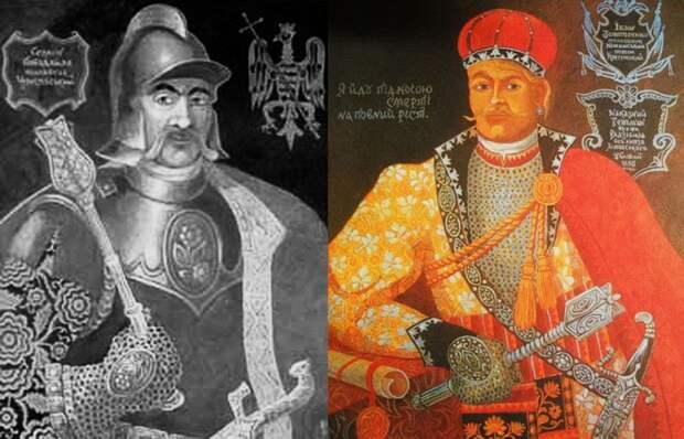 Наказной гетман, нежинский полковник И.Н. Золотаренко (справа), и черниговский полковник С.Д. Пободайло