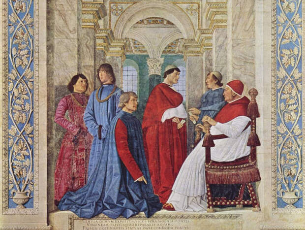"""Мелоццо да Форли. Фреска """"Папа Сикст IV назначает Платину префектом библиотеки"""". © Wikipedia"""
