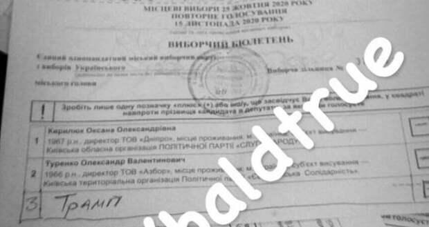 Под Киевом навыборах мэра города избиратель проголосовал заТрампа