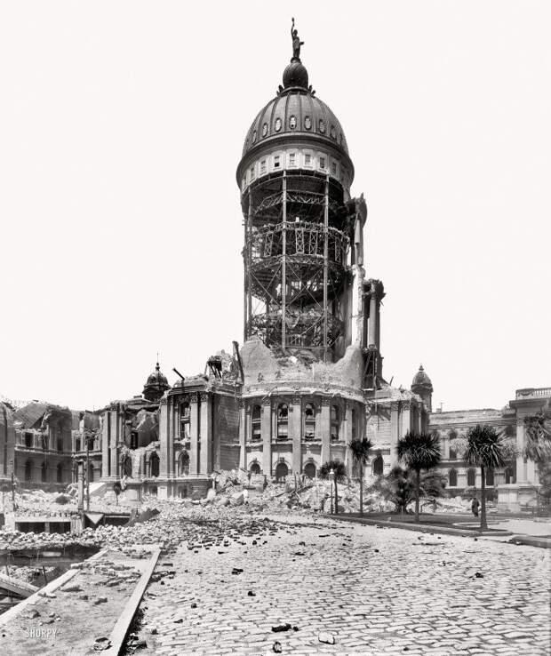 Сан-Франциско, апрель 1906 года. Здание мэрии после землетрясения. история, события, фото