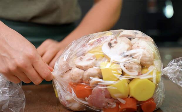 Готовим рагу в пакете без использования кастрюли