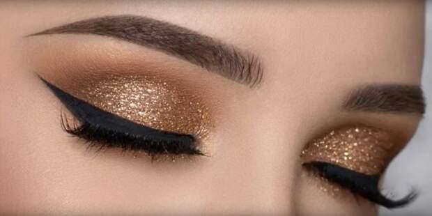 золотой макияж для карих глаз на выпускной