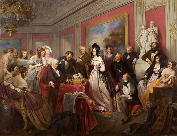 Йозеф Франц Данхаузер, «Игра в шахматы», первая половина XIX века.