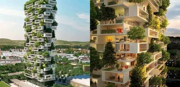 В Лозанне (Швейцария) началось строительство вертикального леса под названием «Башня кедров» (La tour des Cedres). | Фото: prostranstvo.media.