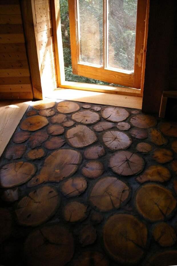 Необычный деревянный пол. дизайн интерьера, полы