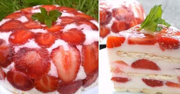 Самый летний клубничный десерт: на всё про всё — 30 минут, 300 г ягод и 100 г печенья