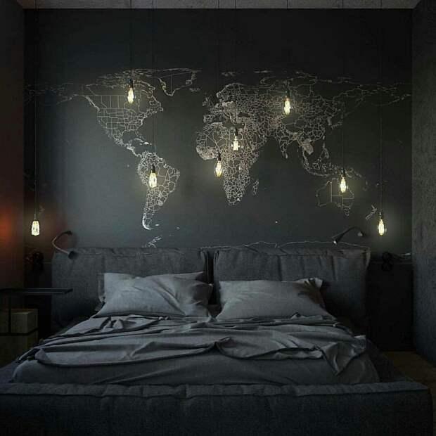 Карта в черной-черной спальне