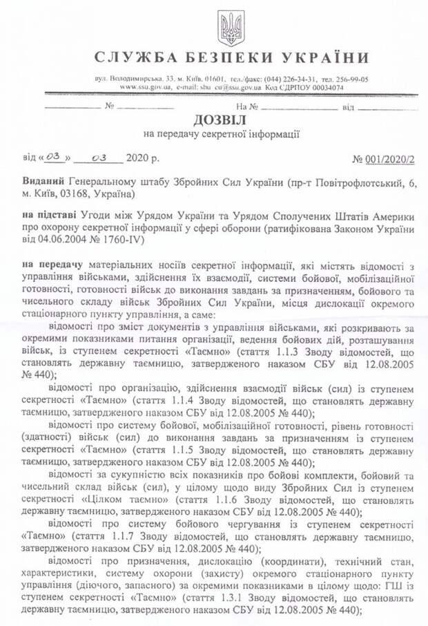 В Сеть попали секретные документы о передаче Украиной военных тайн разведчикам США