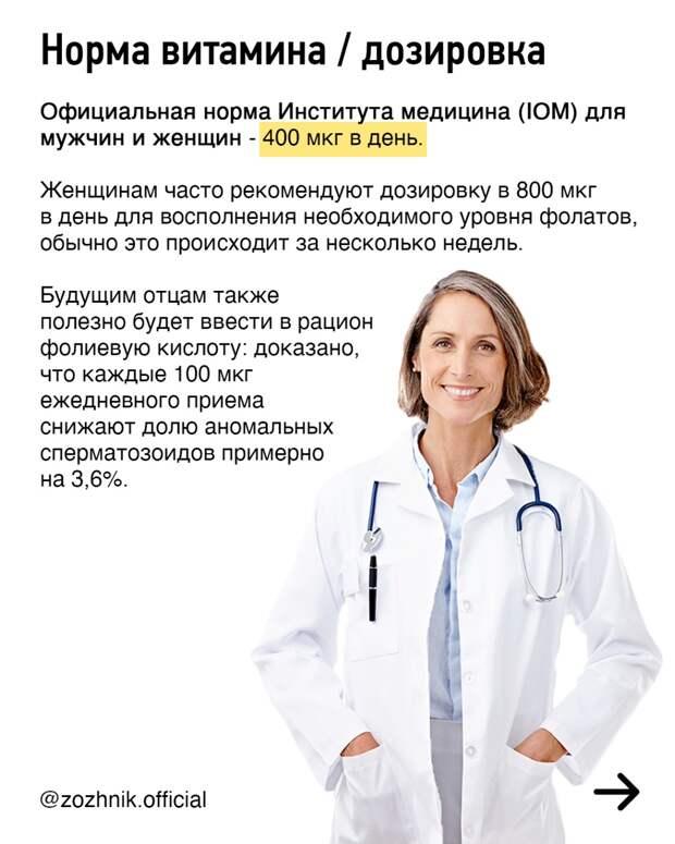 """Витамин B9, он же """"фолиевая кислота"""". Энциклопедия в 10 слайдах"""