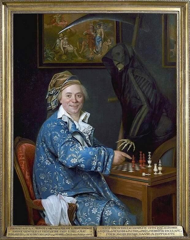 Реми-Фюрси Дескарсен, «Портрет доктора де С., играющего в шахматы со Смертью», 1793.