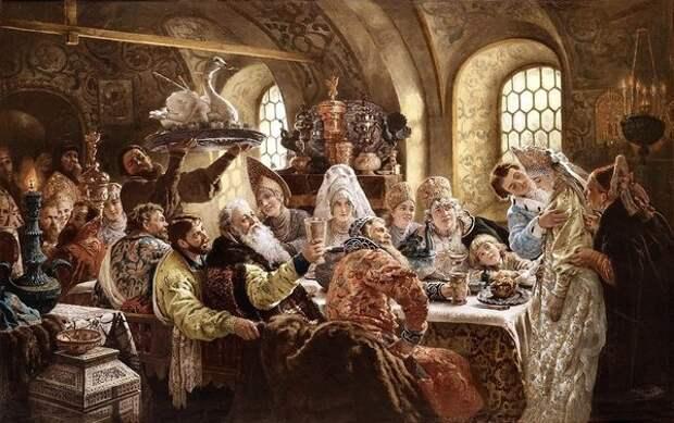 Боярский свадебный пир в XVII веке, 1883