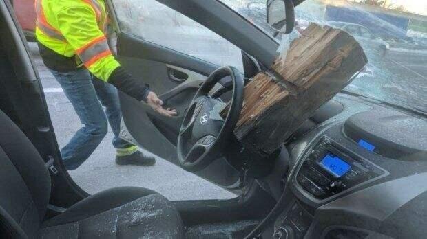 Водитель остался в живых после того, как огромный кусок дерева влетел в его лобовое стекло авто, в мире, дорога, за рулем, опасно, подборка, прилетело