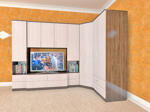 Угловые стенки: виды конструкций, материалы, цветовые решения (52 фото)